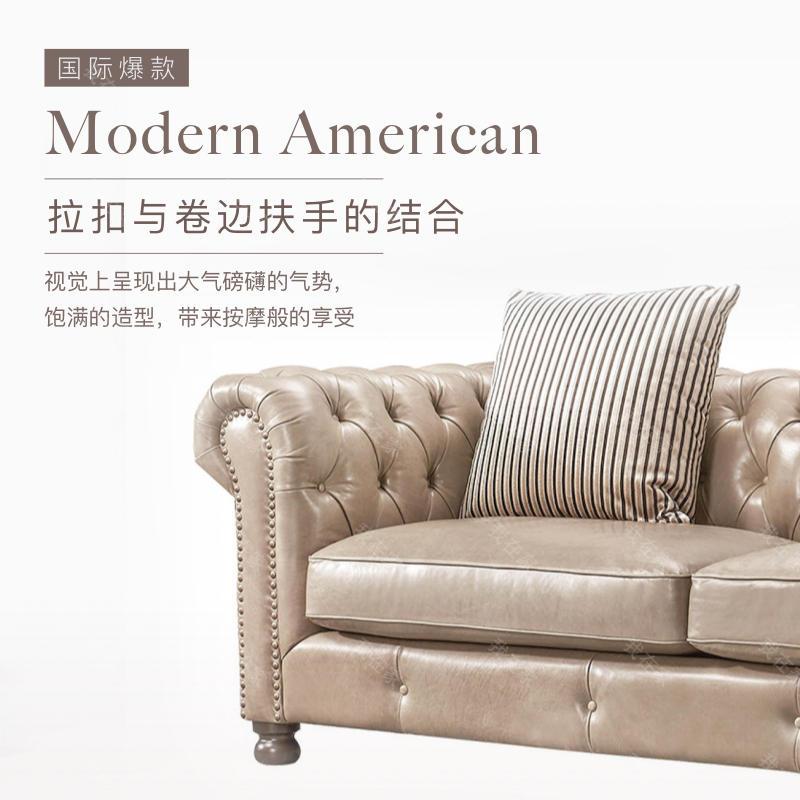 现代美式风格真皮沙发(样品特惠)