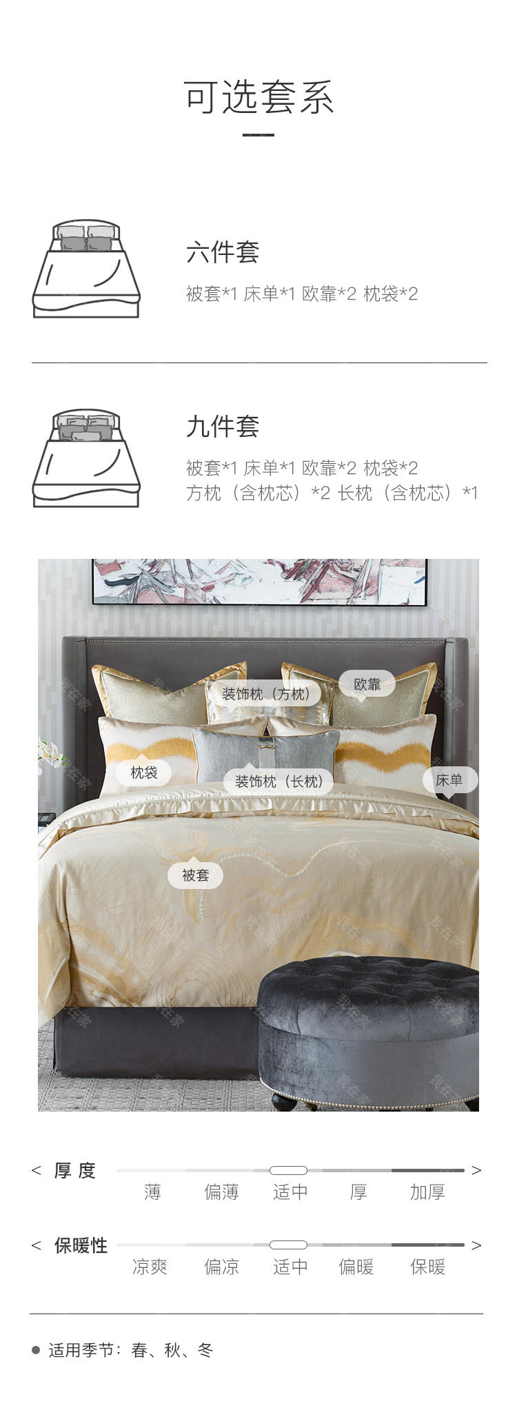 carolina home品牌欧格登高支奢密床品套件的详细介绍