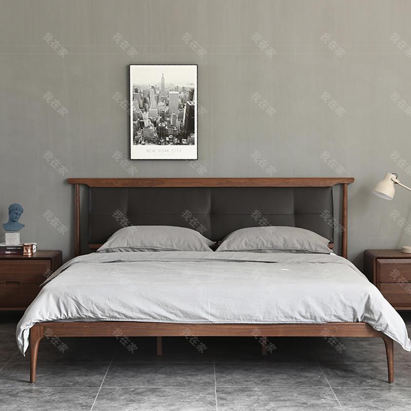 原木北欧风格莳幔双人床