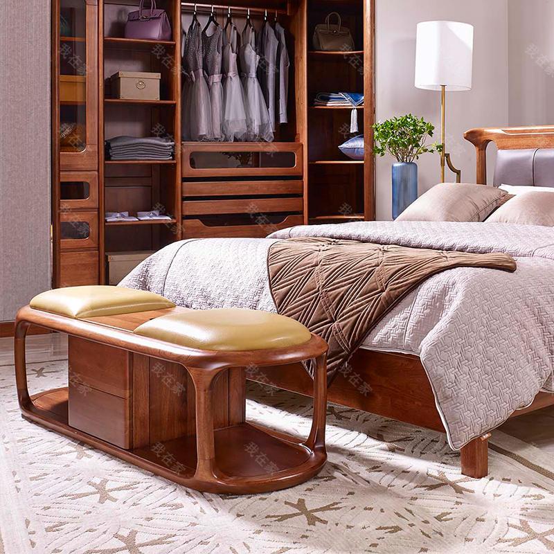 现代实木风格云何床尾凳