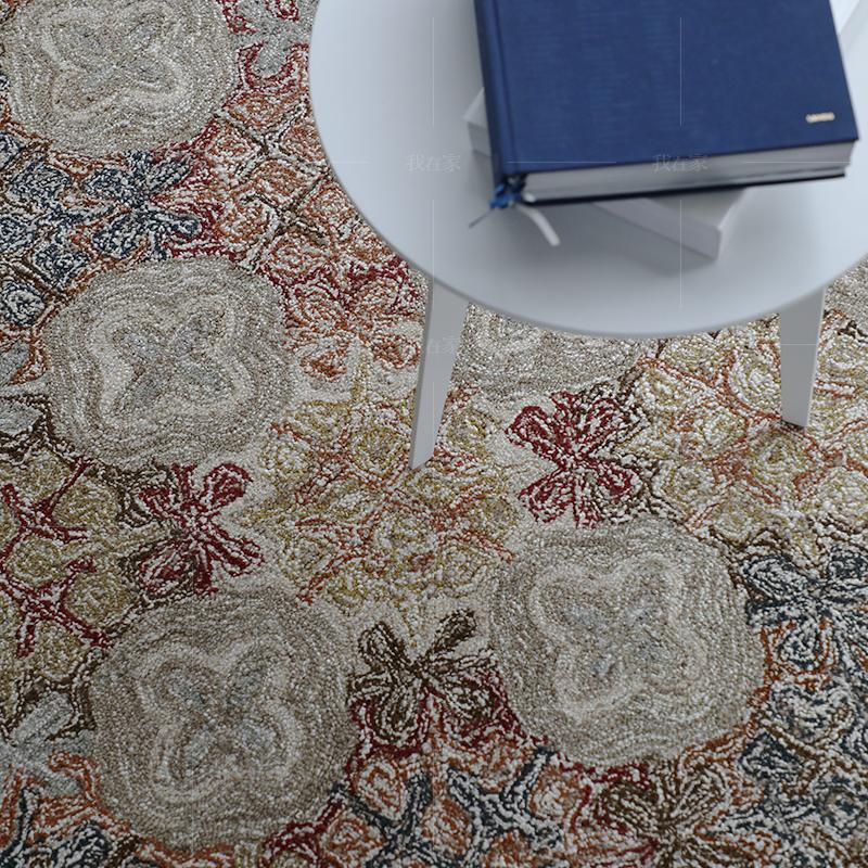 地毯系列印度风花纹手工羊毛地毯