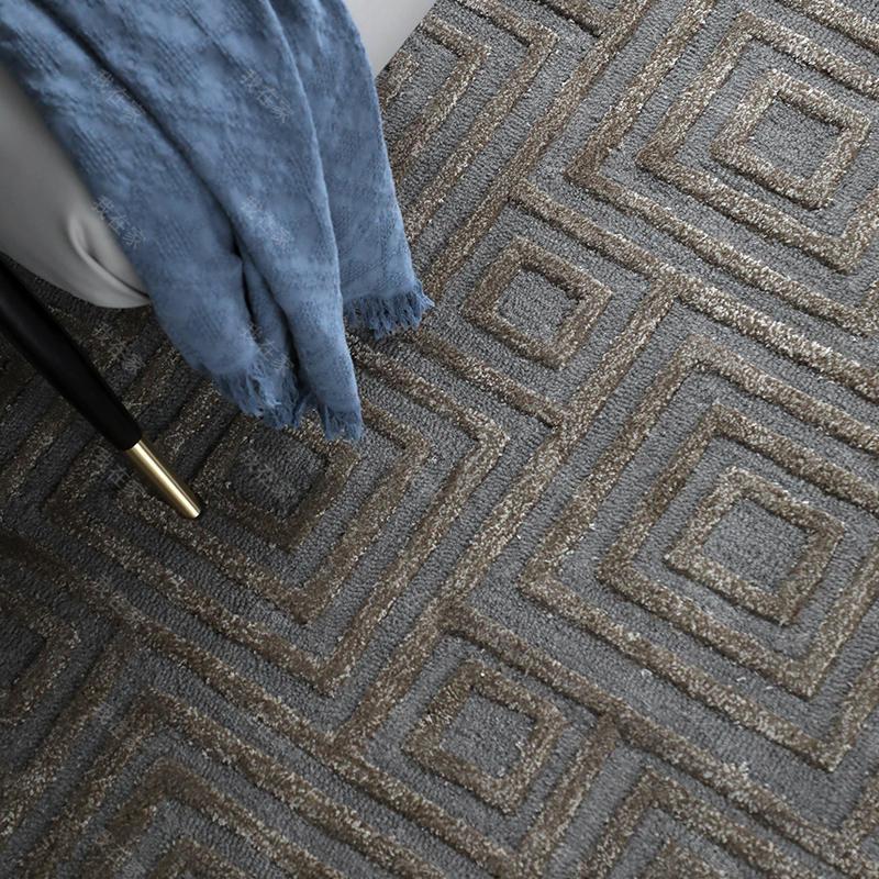 地毯品牌印度风立体回形羊毛地毯