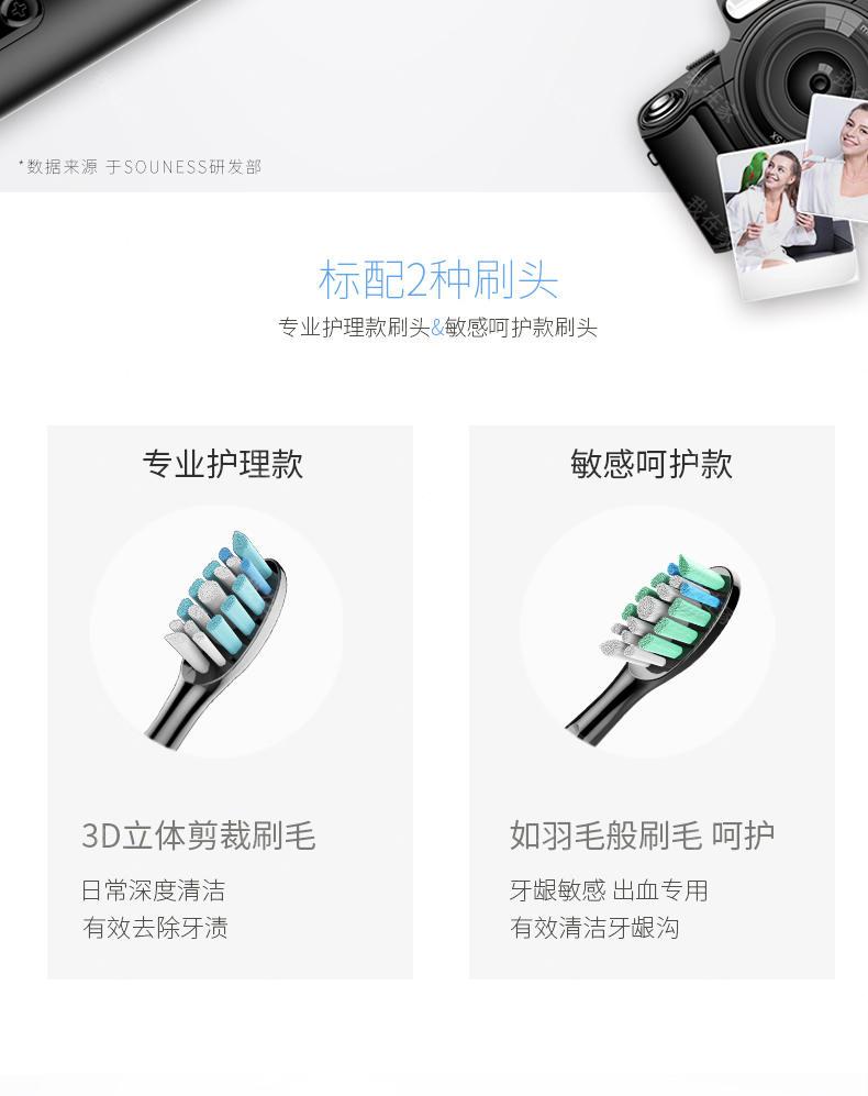 索纳斯品牌6档变频声波电动牙刷的详细介绍