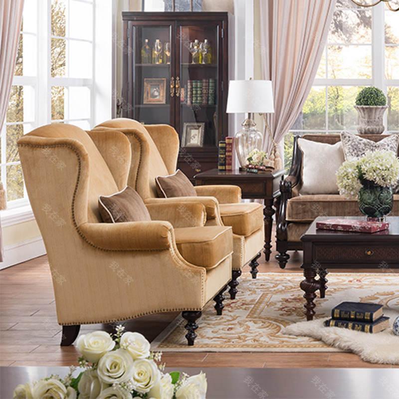 传统美式风格摩洛凯沙发椅