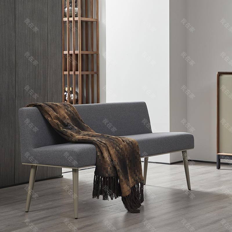 意式极简风格可可长条凳
