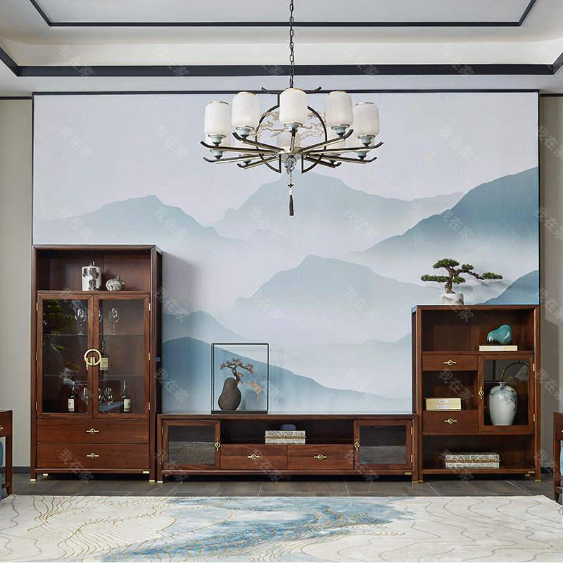 新中式风格晚秋组合电视柜