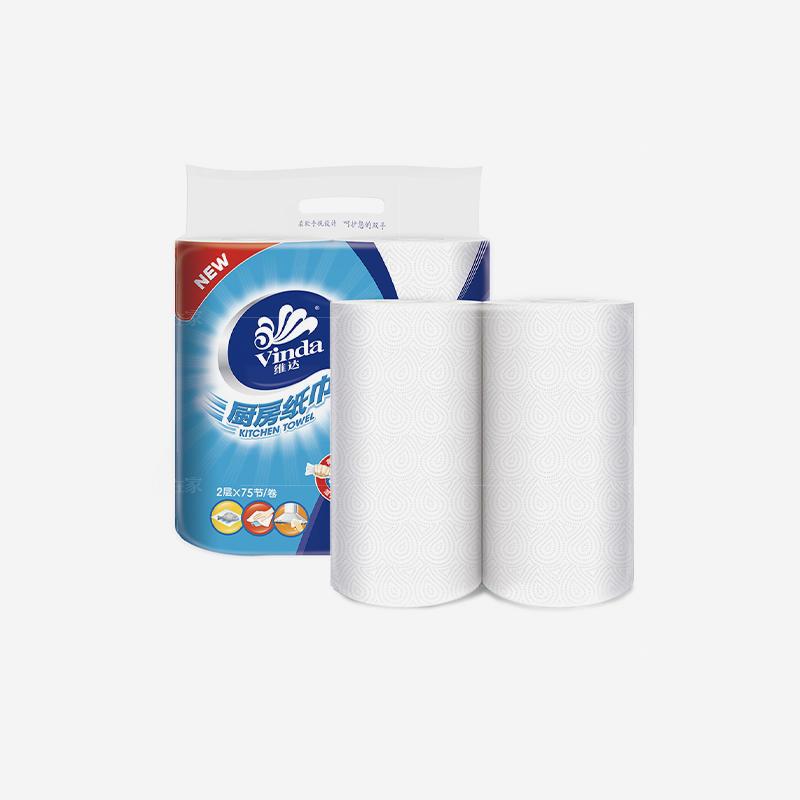 维达系列维达2层卷式厨房纸抹布