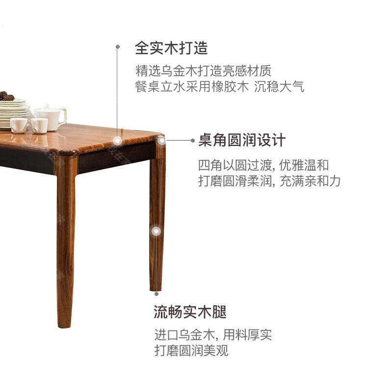 现代实木风格倚窗餐桌(样品特惠)的家具详细介绍