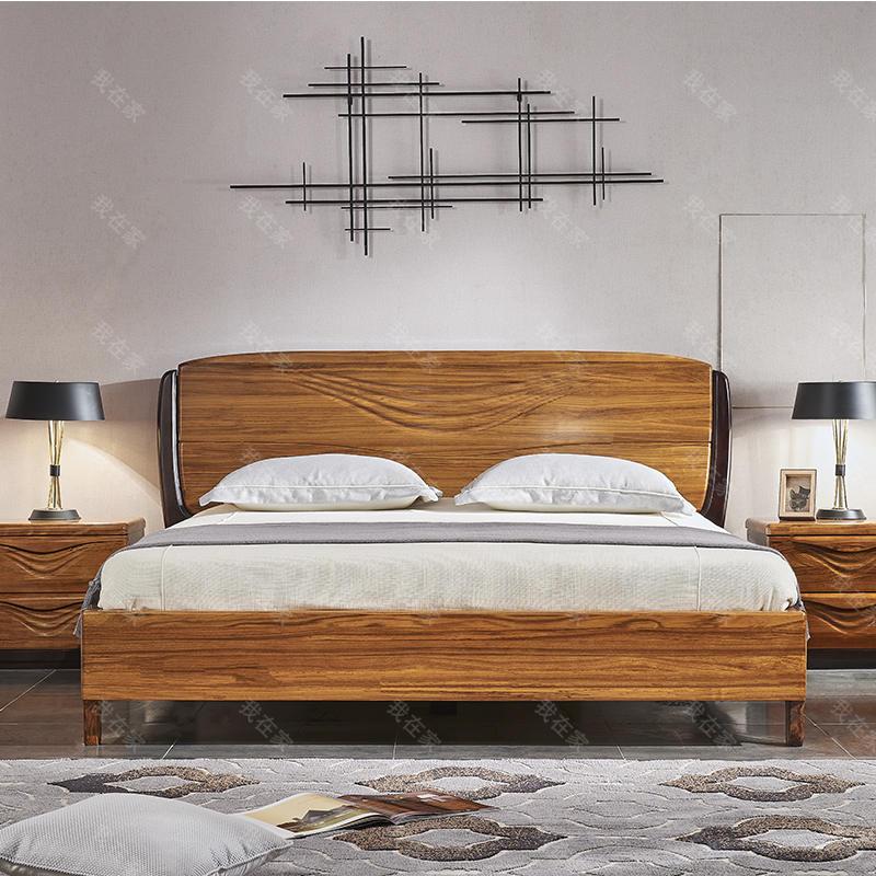 现代实木风格轻舟双人床