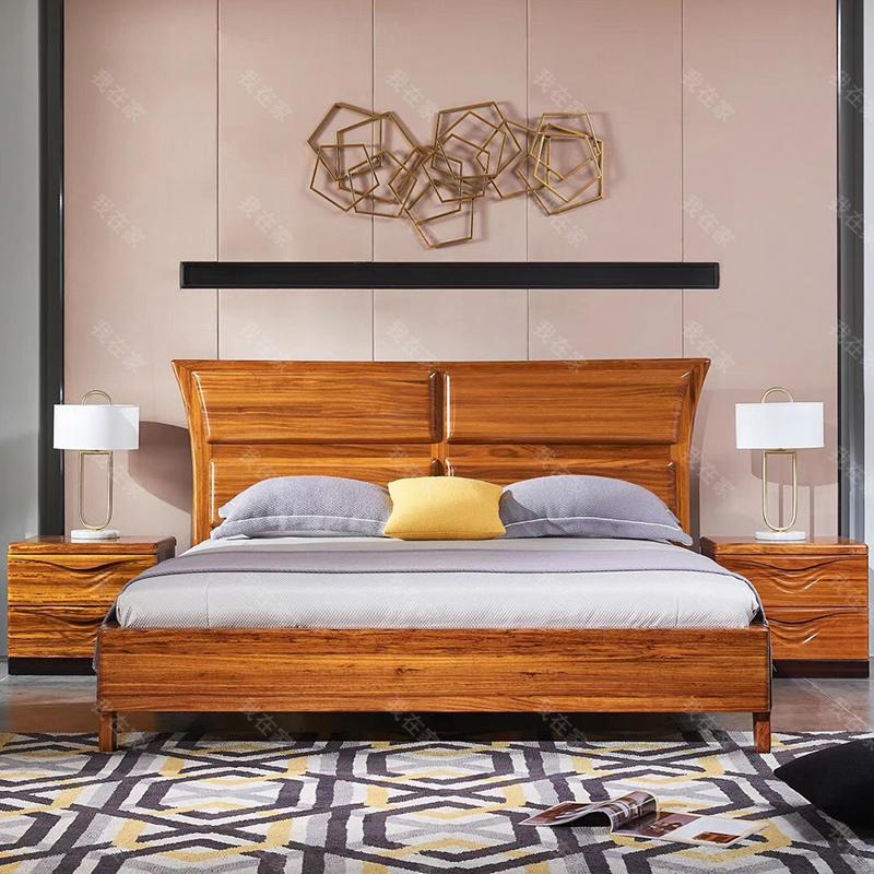 现代实木风格敦煌双人床