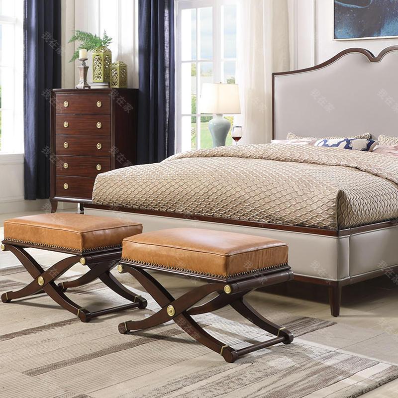 现代美式风格雷耶斯床尾凳