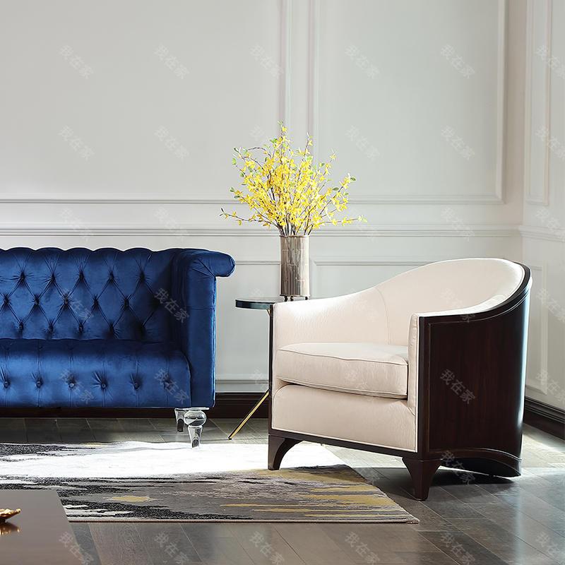 现代美式风格西西里单人沙发