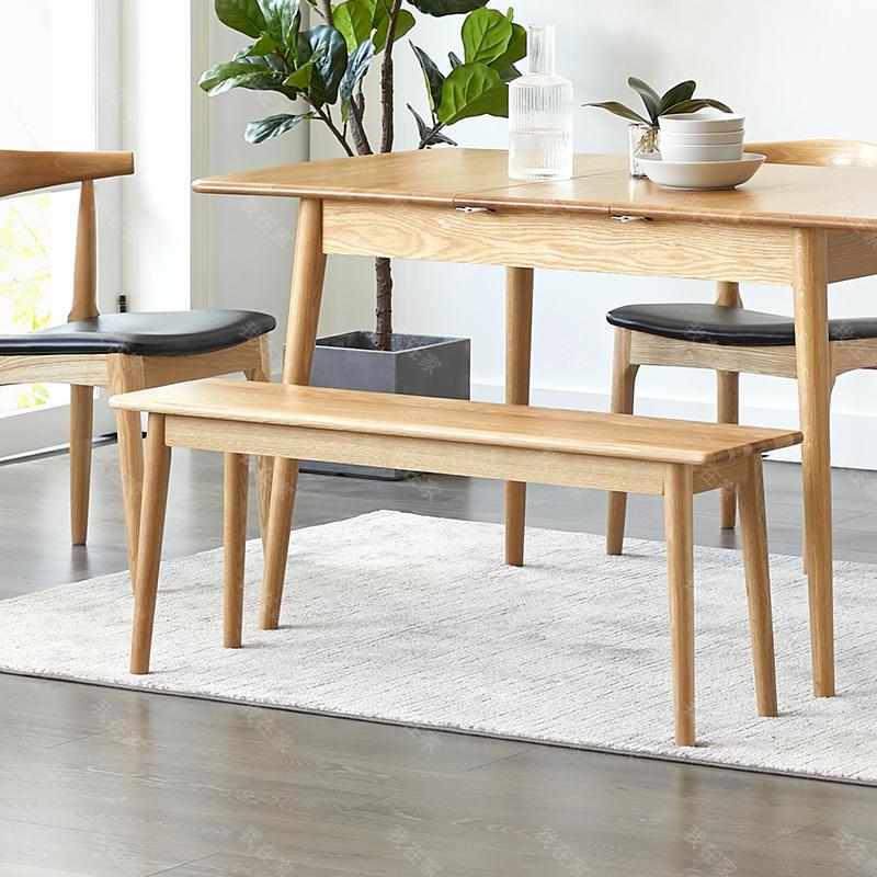 原木北欧风格梵己长条凳