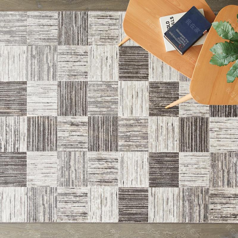 现代简约风格素色几何编织机织地毯