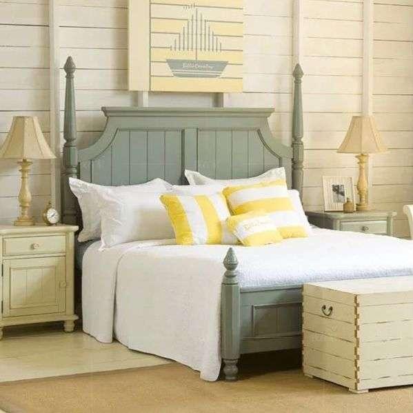 乡村美式风格温莎双人床