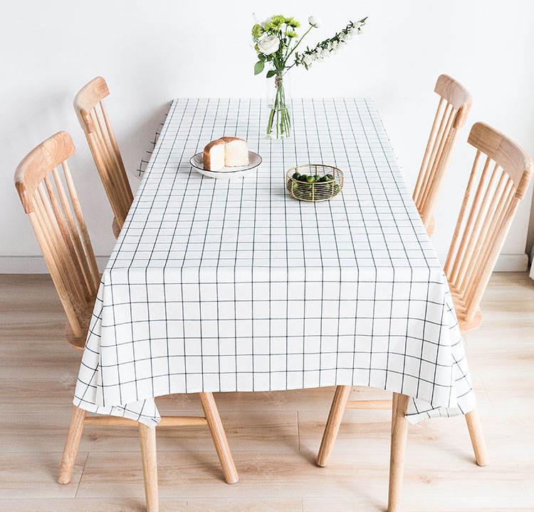 现代简约风格黑白格纹防水桌布