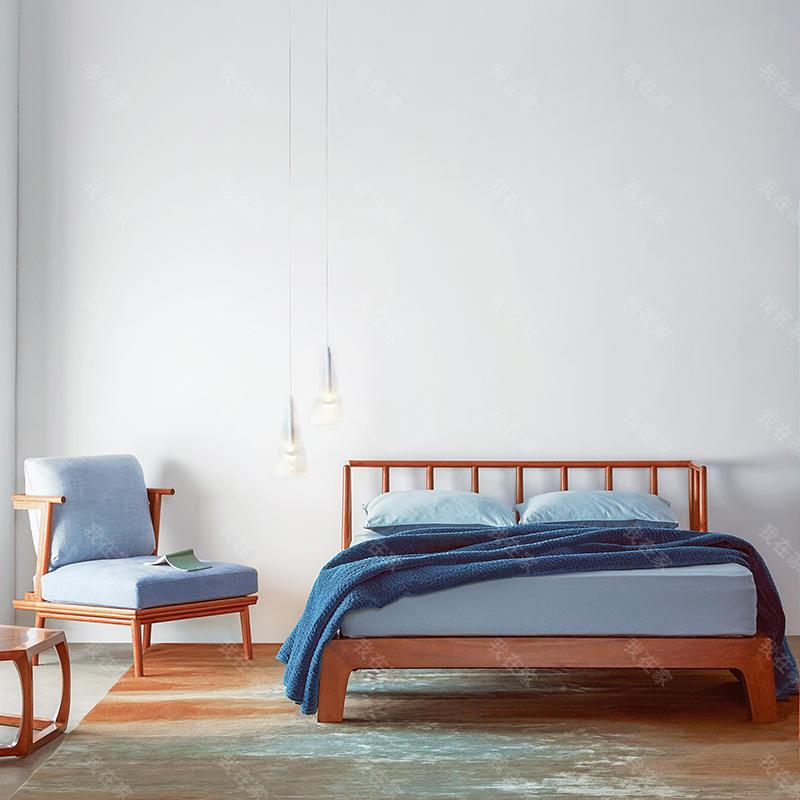 新中式风格天地梳背床