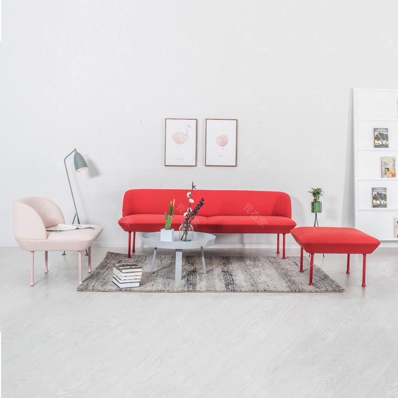 色彩北欧风格樱桃布艺沙发