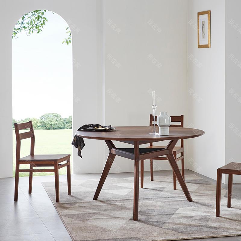 原木北欧风格无拘圆餐桌