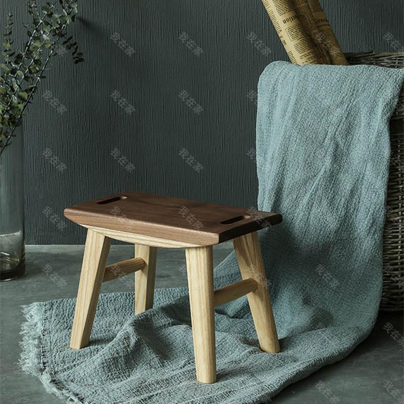 原木北欧风格拉手小板凳(样品特惠)