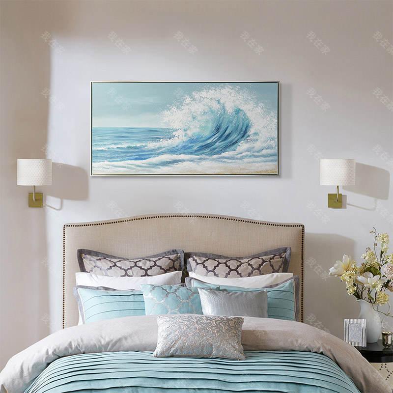 装饰画品牌蓝色海浪 手绘挂画