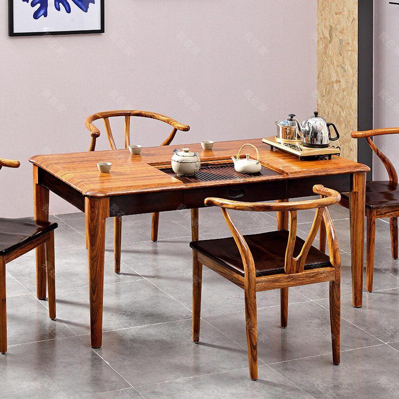 现代实木风格倚窗茶椅