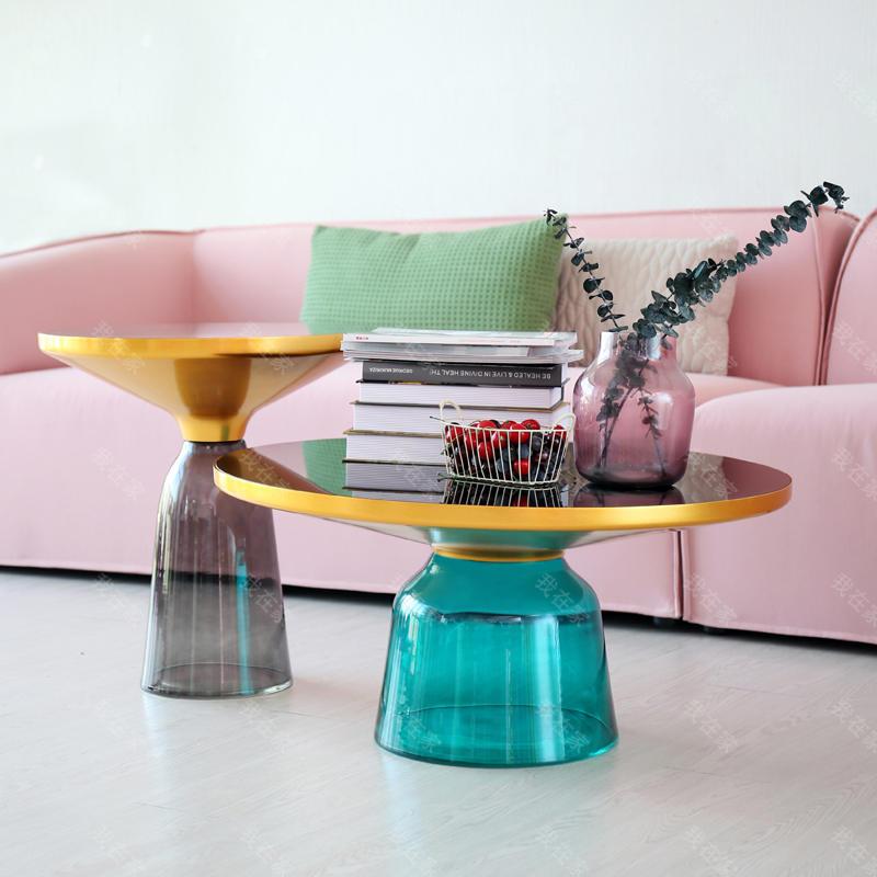 色彩北欧风格叮当琉璃高款茶几