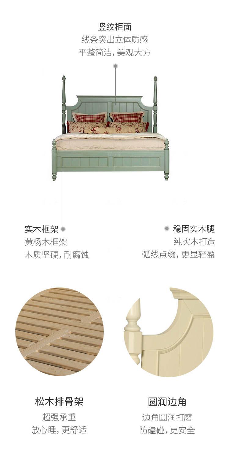 乡村美式风格温莎双人床的家具详细介绍