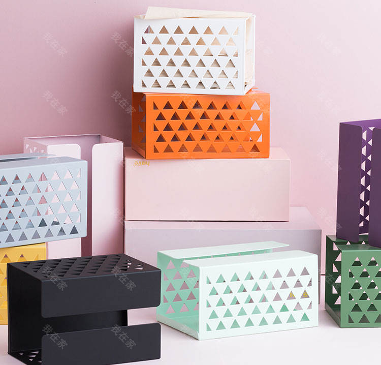 纳谷品牌纯色铁艺纹纸巾盒