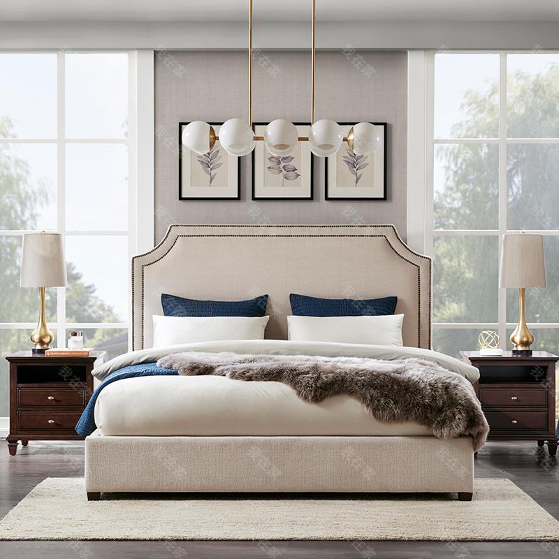 现代美式风格凹角素雅床