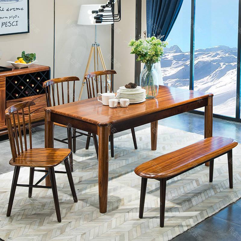 现代实木风格倚窗长条凳