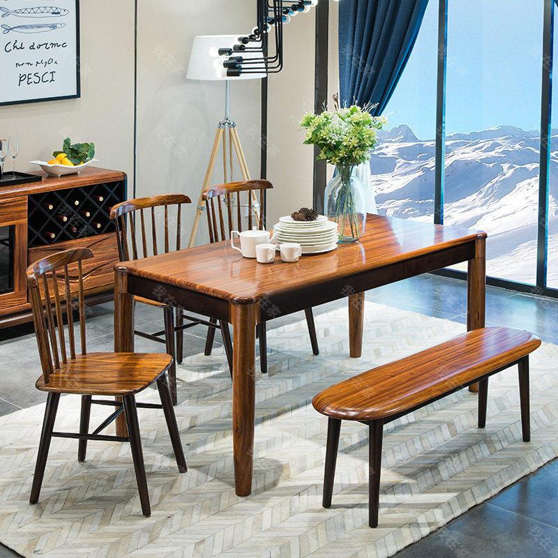 现代实木风格倚窗餐桌(样品特惠)