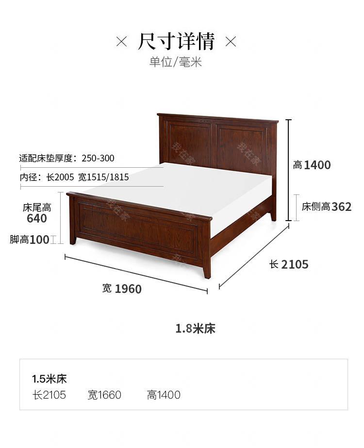 简约美式风格克莱蒙丝双人床的家具详细介绍