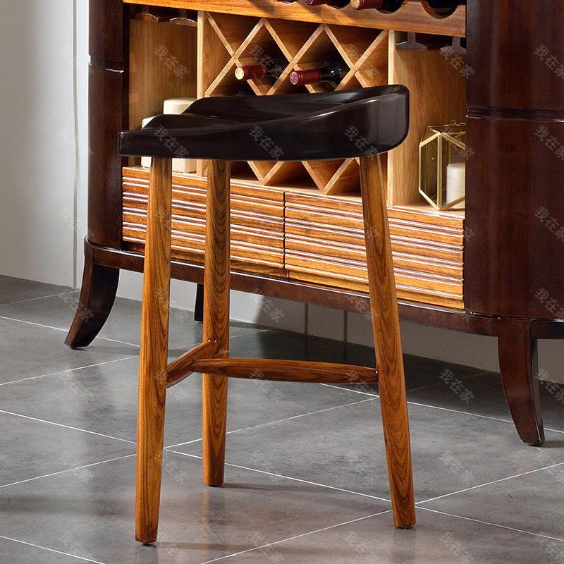 现代实木风格轻舟吧椅
