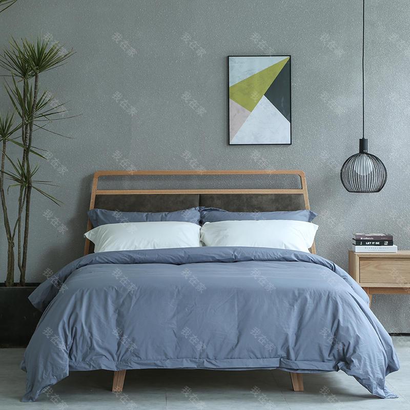 原木北欧风格留白双人床