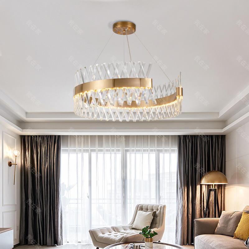 现代北欧灯品牌轻奢风水晶圆形客厅吊灯