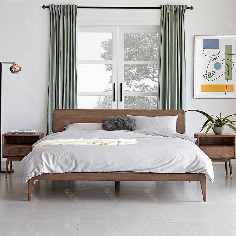 原木北欧风格随心双人床