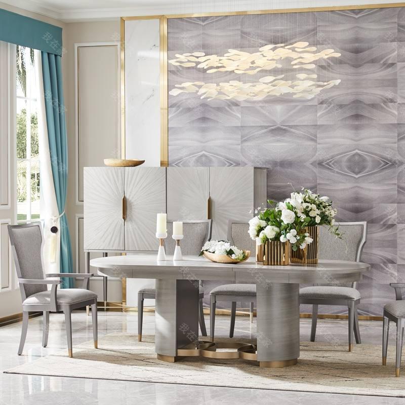 轻奢美式风格希尔顿拉伸餐桌