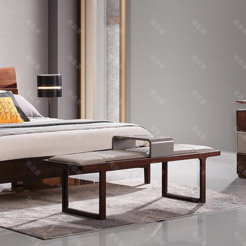 现代实木风格白露床尾凳