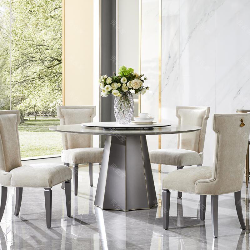 轻奢美式风格塔菲圆餐桌
