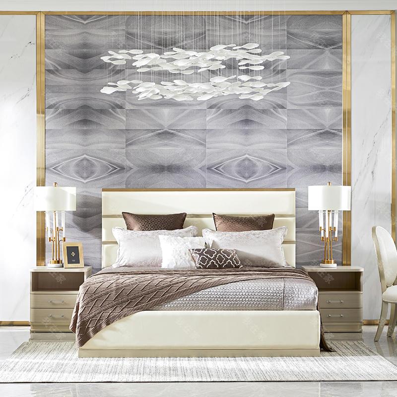 轻奢美式风格莫尔双人床