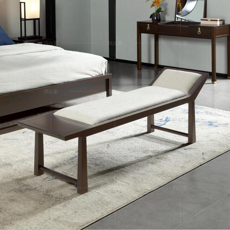 新中式风格似锦床尾凳