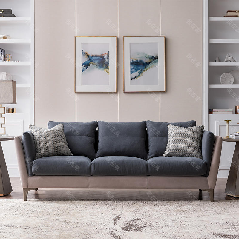 现代美式风格休斯顿皮布沙发
