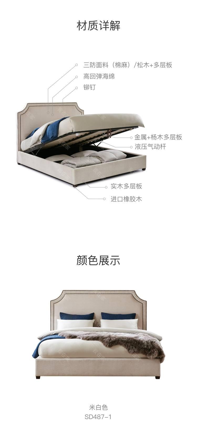 现代美式风格凹角素雅床的家具详细介绍
