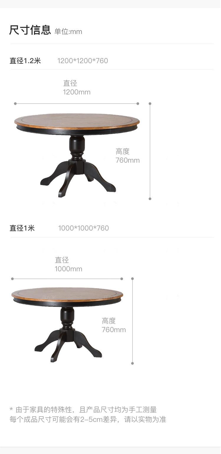 乡村美式风格道格拉斯圆餐桌的家具详细介绍